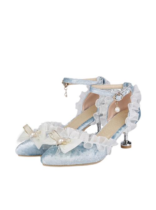 Wedding Dress Tea Party Elegant Velour Classic Lolita Pointed-toe High Heel Shoes