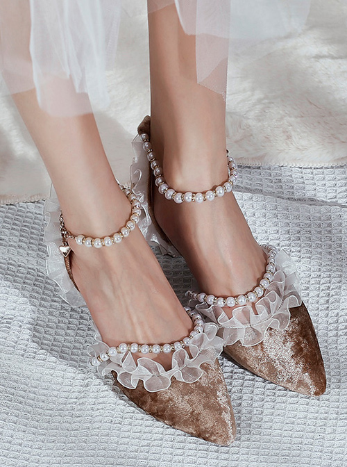 Beaded Chain Frill Lace Classic Lolita Tea Party Elegant Velour Pointed-toe High Heel Shoes