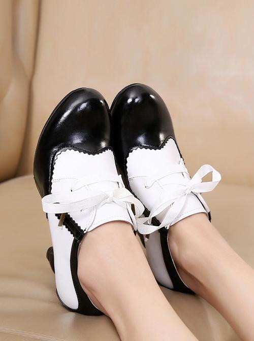 Table Leg Shaped Heel Silk Ribbon Retro Classic Lolita High Heel Shoes