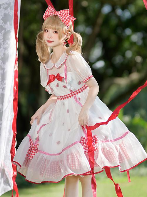 Strawberry Fruit Series OP Cute Bowknot Sweet Lolita Short Sleeve Dress