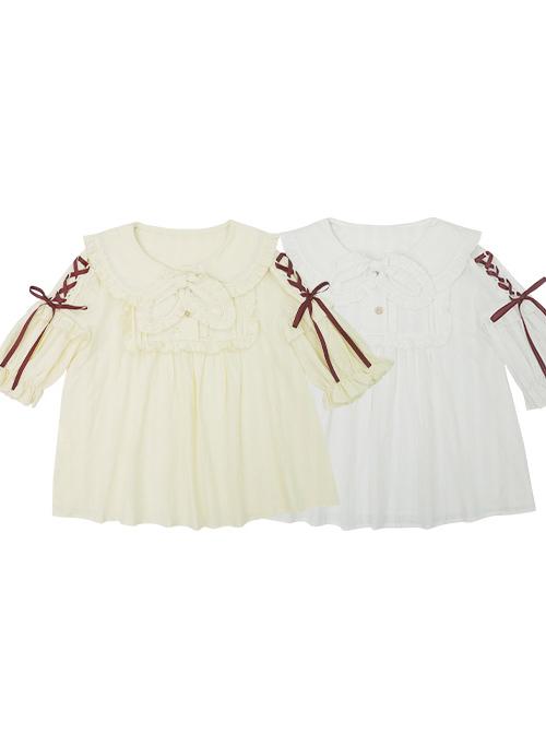 Small Acorn Series Doll Collar Bowknot Sweet Lolita Short Sleeve Shirt