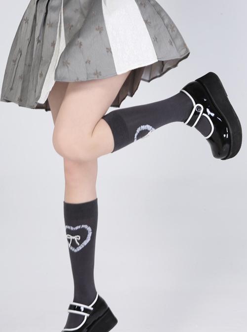 Stereoscopic Pearl Bowknot Heart Pattern Sweet Lolita Gray Knee Socks