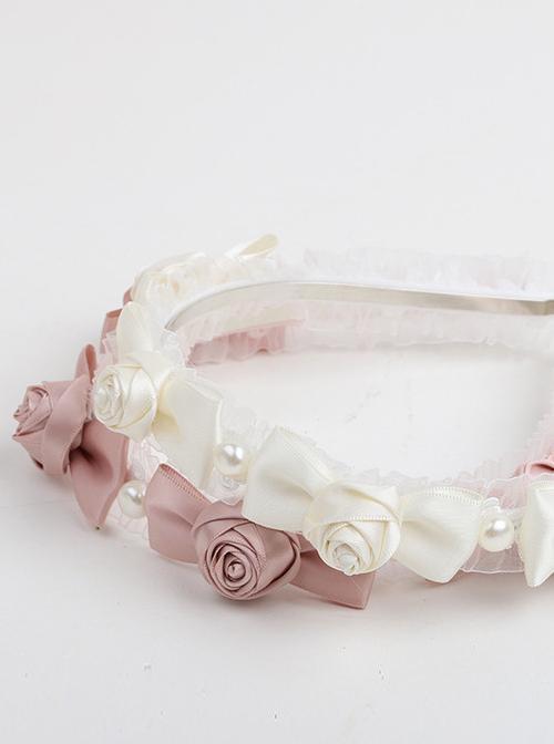 French Retro Rose Bowknot Lace Classic Lolita Headband