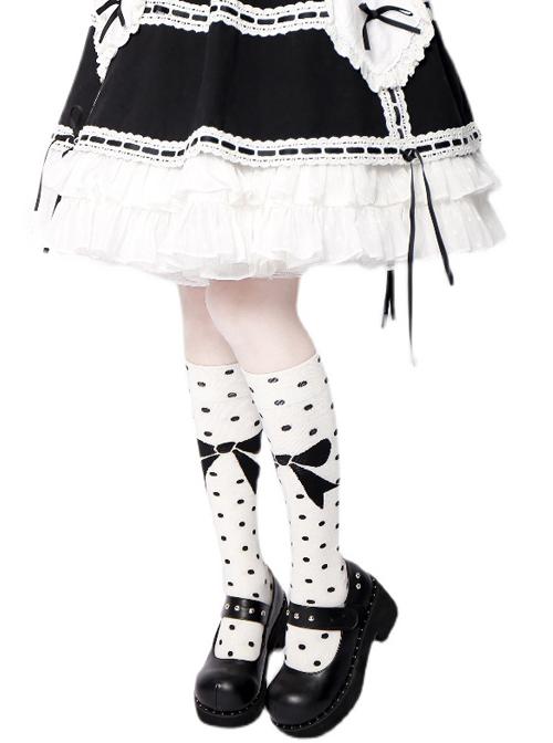 Black Polka Dot Bowknot Pattern Sweet Lolita White Knee Socks