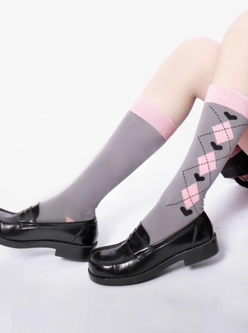 Gray Pink Plaid Pattern JK Style School Lolita Knee Socks