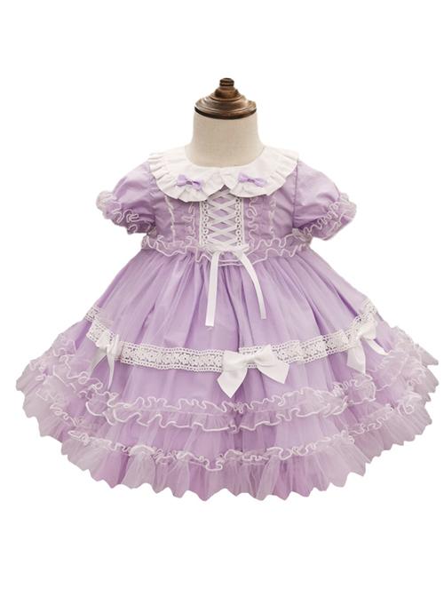 Tulle Lace Doll Collar Light Purple Children Sweet Lolita Short Sleeve Dress
