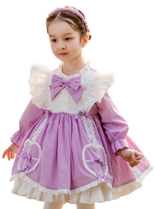 Cute Frill Collar Purple Bowknot Children Sweet Lolita Long Sleeve Dress