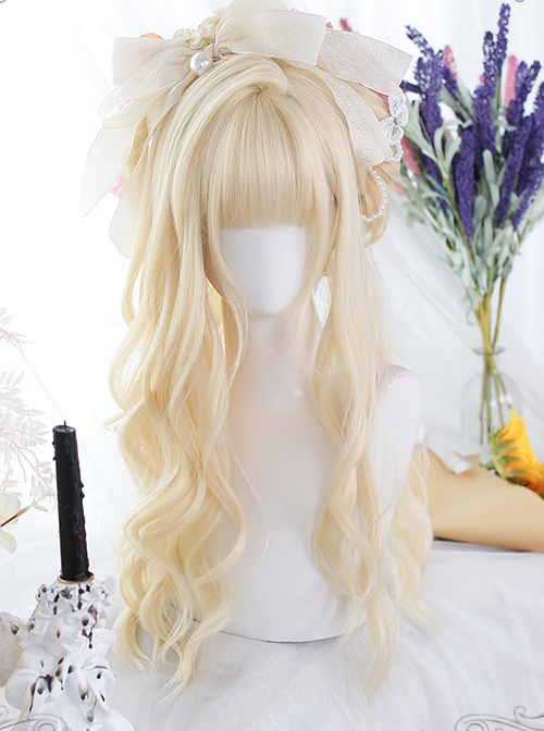 Golden Hair Tail Layering Long Curly Wigs Sweet Lolita Wigs