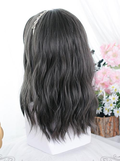 Dark Gray Medium Long Natural Slightly Curly Wig Classic Lolita Wigs