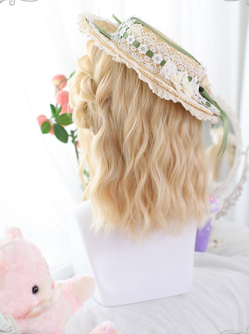 Golden Short Natural Slightly Water Ripple Curly Wig Classic Lolita Wigs