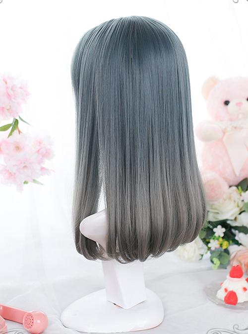 Dark Blue Gradient Gray Natural Internal Buckle Medium-Long Curly Wig Classic Lolita Wigs