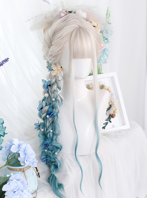 Silver Natural Gradient Green Long Water Ripple Curly Wig Classic Lolita Wigs