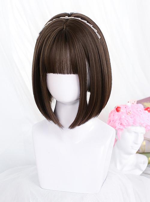 Brown Internal Buckle Short Straight Wig Classic Lolita Wigs
