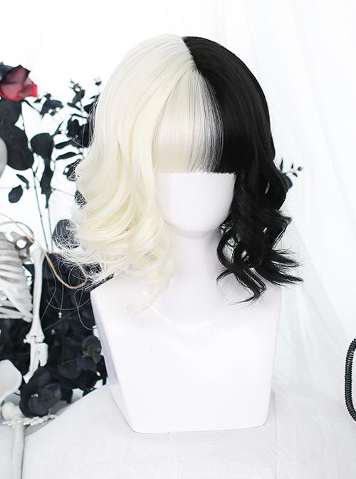 White Black Short Curly Wig Gothic Lolita Wigs