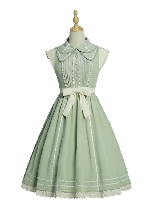Jungle Letterhead Series Pastoral Style Green Daily Classic Lolita Pure Color Sleeveless Dress