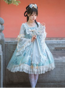Chinese Style Red-crowned Crane Printing Classic Lolita Long Sleeve Dress
