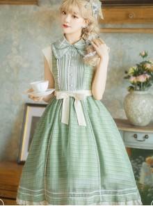Jungle Letterhead Series Pastoral Style Daily Classic Lolita Green Plaid Sleeveless Dress