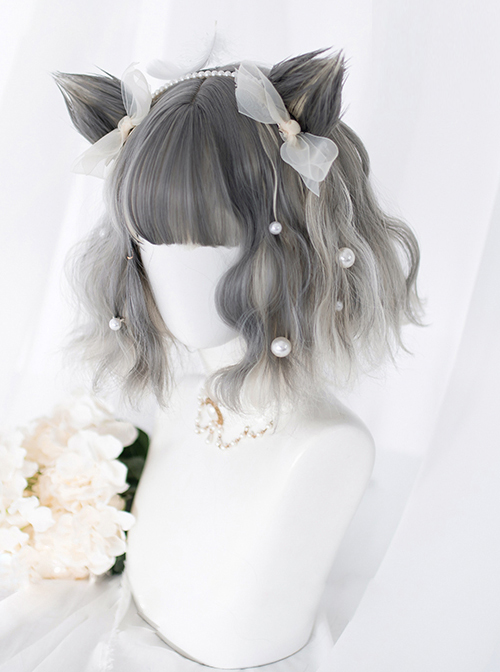 Gray Gradient Silver Short Curly Wig Sweet Lolita Wigs With Cat Ears Clips