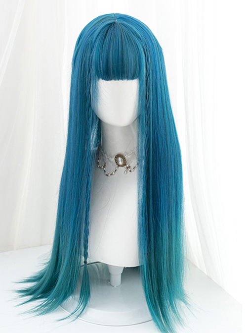 Harajuku Dark Blue Gradient Dark Peacock Green Classic Lolita Long Straight Wigs