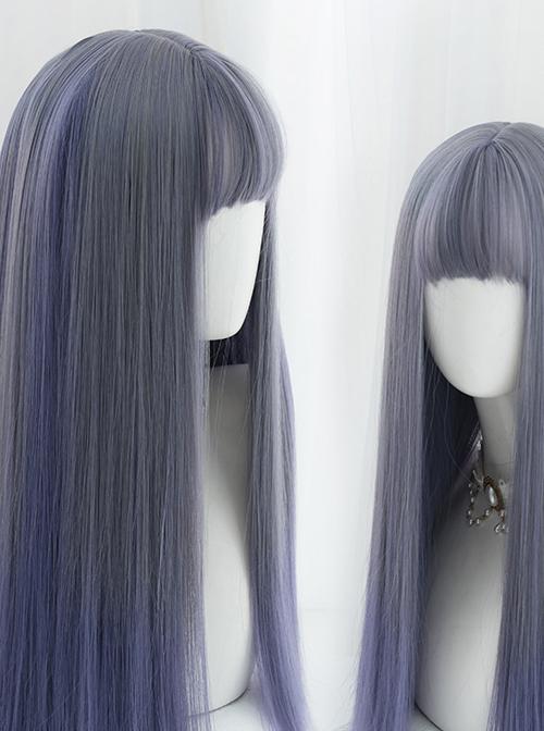 Gray Purple Mixed Gradient Sweet Lolita Long Straight Wigs