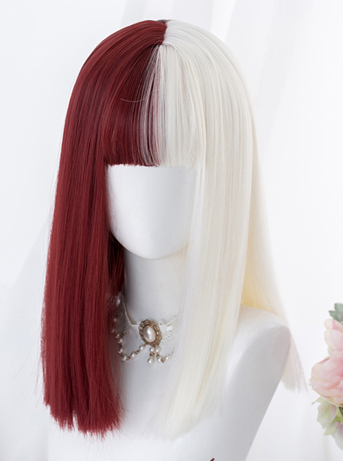 Red And White Color Matching Harajuku Gothic Lolita Long Straight Wigs