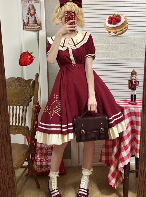 Small Sea Whale Series Doll Collar Embroidery School Lolita Short Sleeve Dress