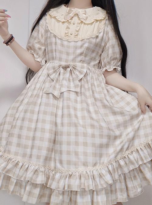 Embroidery Doll Collar Plaid Pattern Ruffle Hem Sweet Lolita Short Sleeve Dress