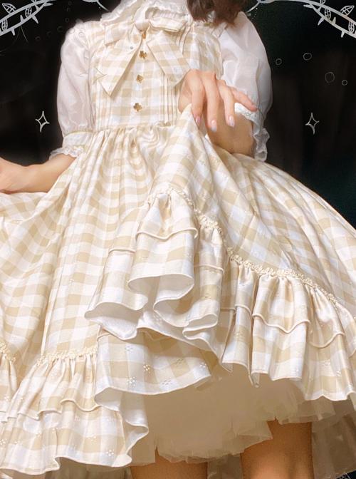 Simplicity Plaid Pattern Ruffle Hem Sweet Lolita Sleeveless Sling Dress