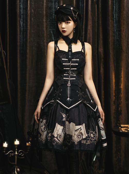 Pirate Boat Series JSK Retro Darkness Punk Lolita Sling Dress