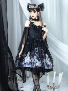 Virgin Flower Series JSK Gothic Lolita Light Hanayome Tea Party Sling Dress