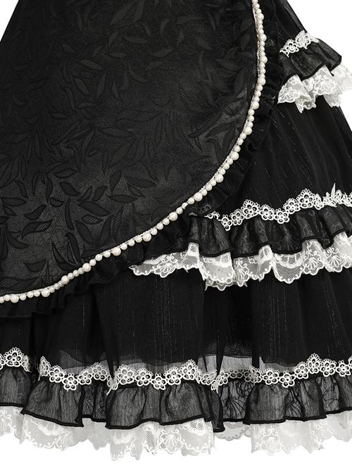 Damask Series OP Chinese Style Black Short Cheongsam Retro Elegant Gothic Lolita Short Sleeve Dress