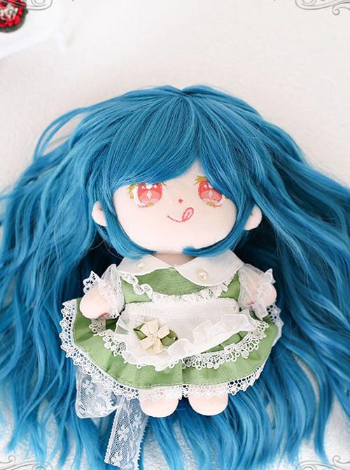 Cotton Doll 20cm Doll Blue Long Curly Wig Cute Doll Lolita Wigs