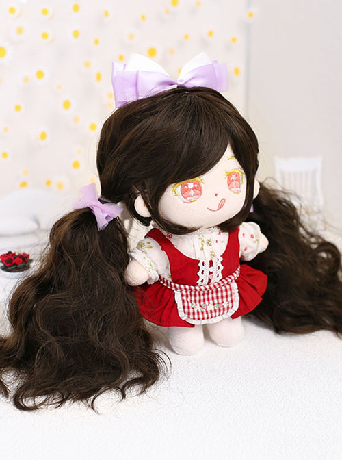 Cotton Doll 20cm Cute Doll Accessories Brown Long Curly Lolita Wigs