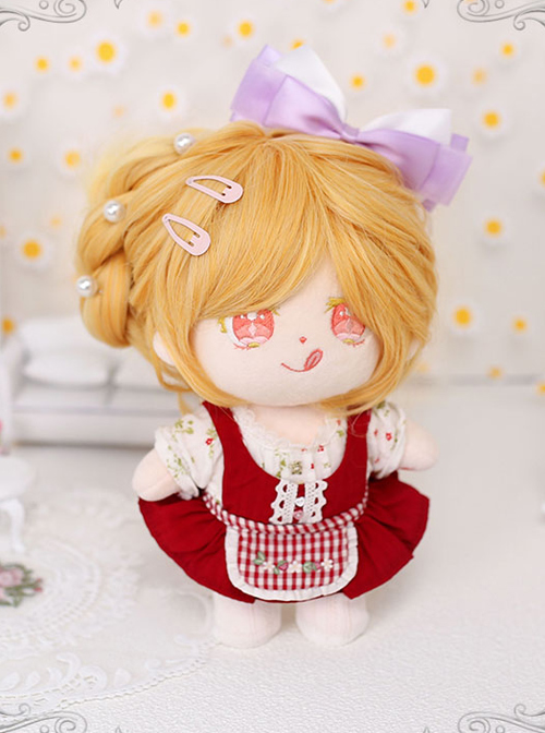 Cotton Doll 20cm Cute Doll Lolita Accessories Sunflower Orange Long Curly Wigs