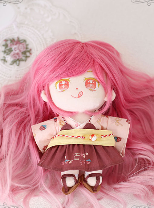 Cotton Doll 20cm Cute Doll Lolita Accessories Small Cherry Blossom Pink Gradient Long Curly Wigs