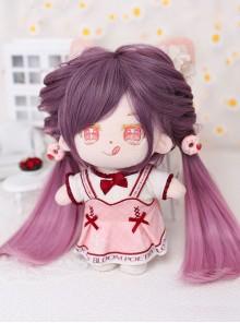 Cotton Doll 20cm Cute Doll Lolita Accessories Small Nebula Purple Gradient Long Straight Wigs