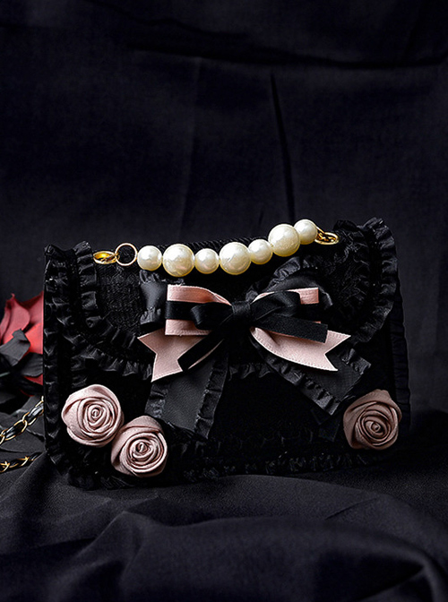 Easy-match Black Pink Sweet Cool Lolita Pearl Small Square Bag