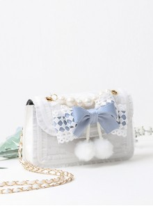 Easy-match Cute Alice Light Blue Bowknot Sweet Lolita Pearl White Small Square Bag