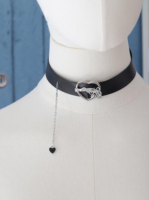 Black Sweet Hot Girl Style Chain Punk Lolita Heart Pendant Necklace