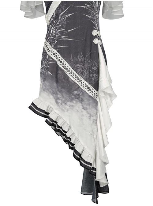 Solitary Crane Cries Series OP Chinese Style Cheongsam Elegant Light Classic Lolita Short Sleeve Dress