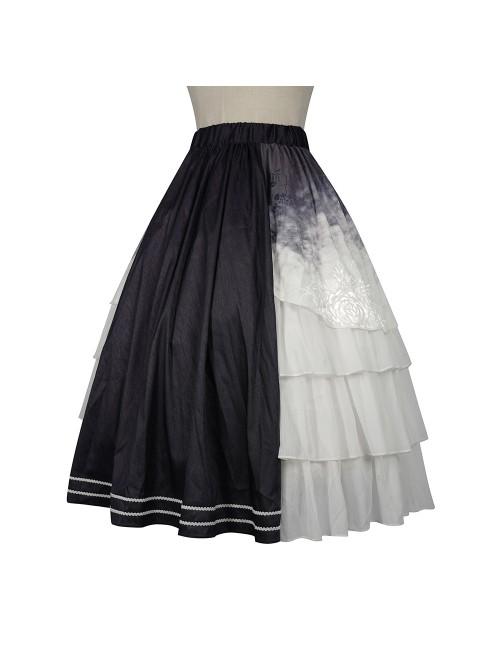 Solitary Crane Cries Series SK Chinese Style Elegant Light Classic Lolita Long Skirt