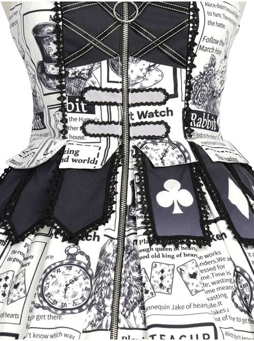 Black White Alice Series JSK Retro Splicing Punk Lolita Sling Dress