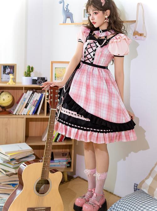 Tsubaki Sakura Series OP Idol Singing Clothes Black Sweet Pink Plaid Sweet Lolita Short Sleeve Dress