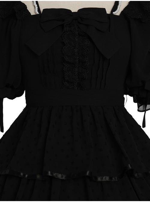 Sicily Series OP Three-section Hem Vintage Elegant Black Chiffon Classic Lolita Short Sleeve Dress