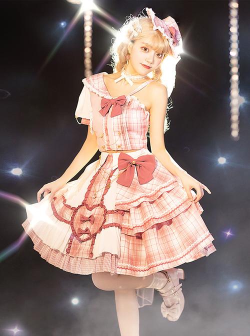 Pink Sniper Series OP Idol Singing Clothing Pink Plaid Sweet Lolita Short Sleeve Set