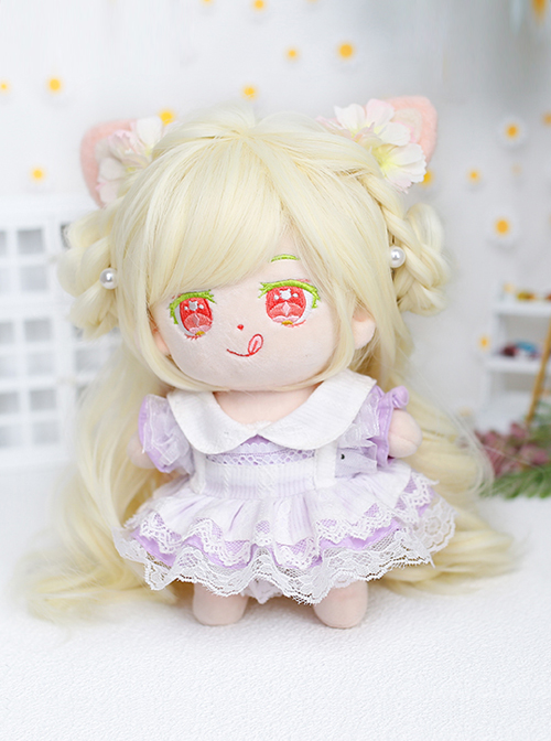 Cotton Doll 20cm Doll Sweetie Light Golden Long Curly Wig Cute Doll Lolita Wigs