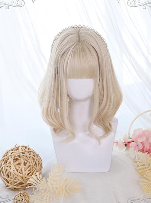 Golden Gentle Slightly Curly Short Wig Classic Lolita Wigs