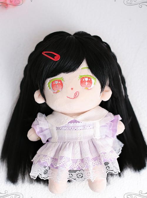 Cotton Doll 20cm Cute Doll Lolita Accessories Cute Black Straight Doll Wigs