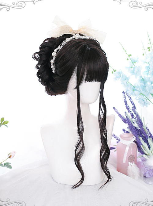 Dark Brown Long Curly Wig Classic Lolita Daily Style Wigs