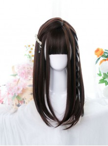 Brown Daily Style Inner Buckle Straight Wig Classic Lolita Wigs